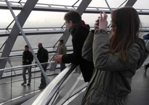 german teenager and french teenager sightseeing on foreign exchange