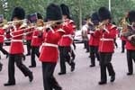 marching band in british uniforms