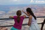 american girl and french girl at grand canyon usa
